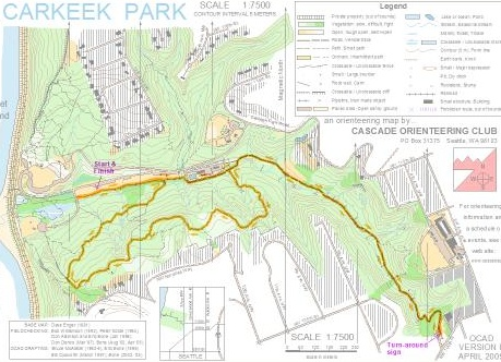 Carkeek Park 5k trail run course map