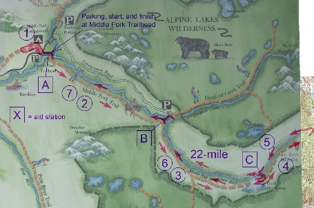 Course route map for Middle Fork 50K & 20M trail run produced by Northwest Trail Runs