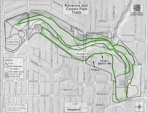 Map of Ravenna and Cowen Parks with the course marked.